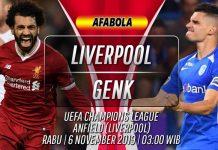 Prediksi Liverpool vs Genk 6 November 2019